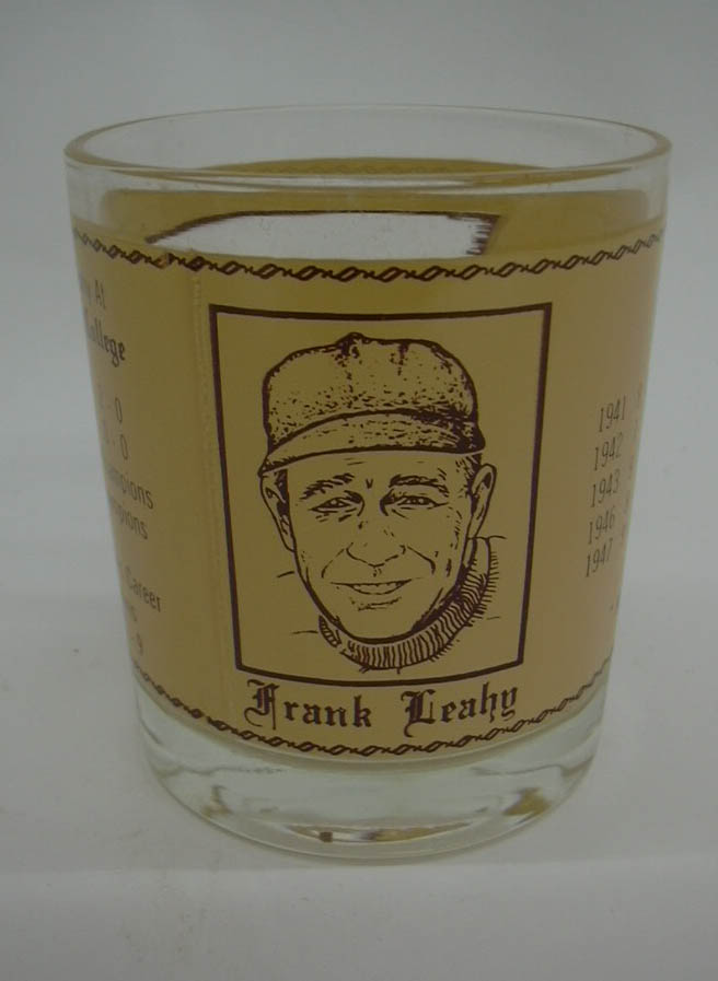 Football coach Frank Leahy Notre Dame Boston College Tribute souvenir glass 1975