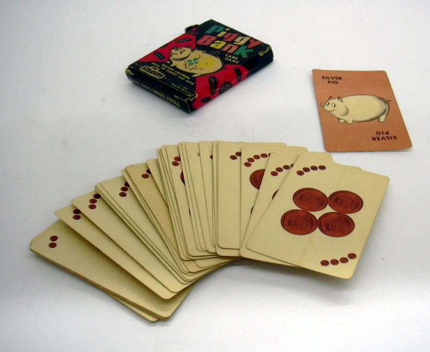 Piggy Bank Card Game Ed-U-Cards deck in box 1953