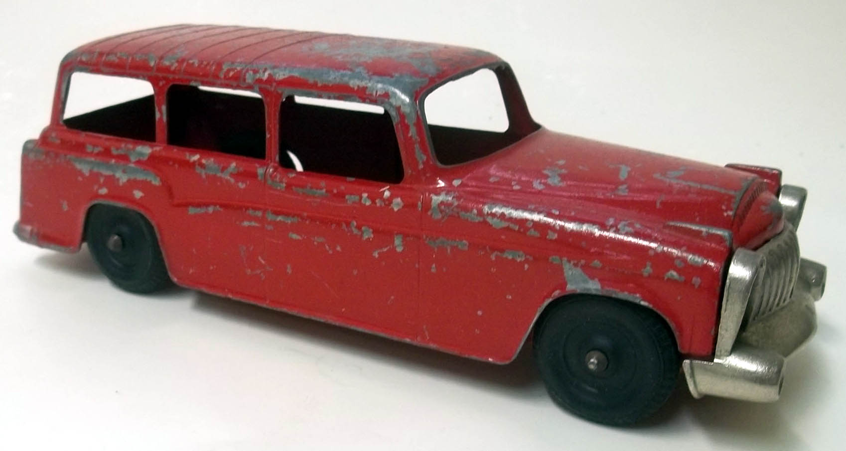 "1950s red metal station wagon 8 1/2"" long unknown maker"