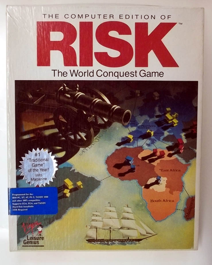 Computer Edition of Risk IBM PC Tandy 1000 Version 1991 big box Virgin Genius
