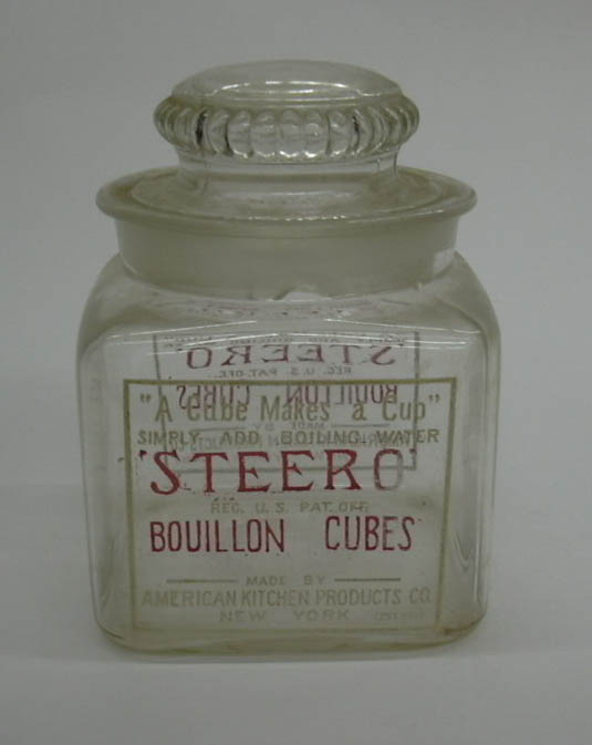 Steero Bouillon Cubes glass jar American Kitchen Products ca 1910