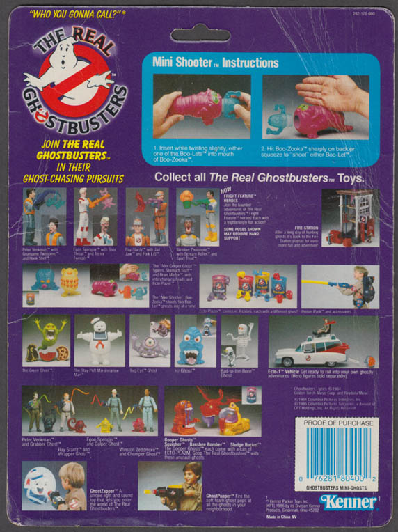 Boo-Zooka + Boo-Lets Real Ghostbusters Mini Shooter Toy COMPLETE + Cardback 1986