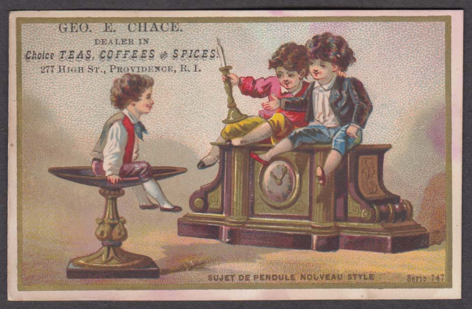Geo E Chace Teas Coffees Spices Providence RI trade card mantel clock 1880s