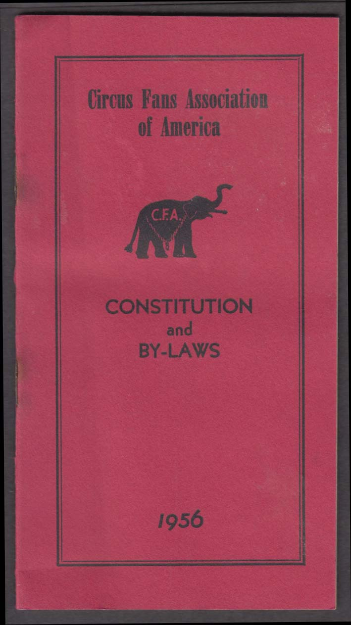 Circus Fans of America Constitution & By-Laws 1956
