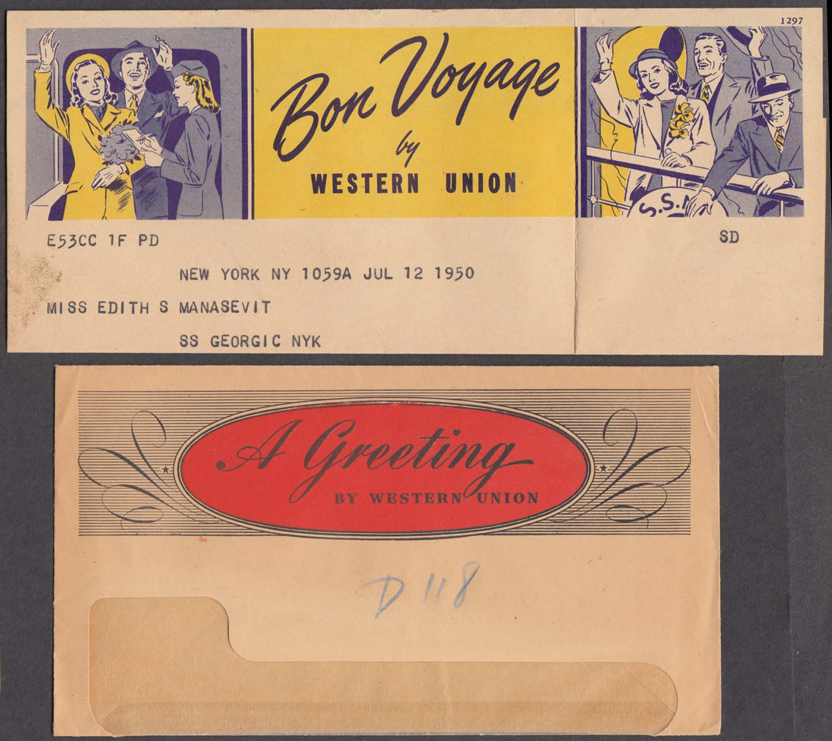 Bon Voyage Western Union Telegram Cunard S S Georgic 1950