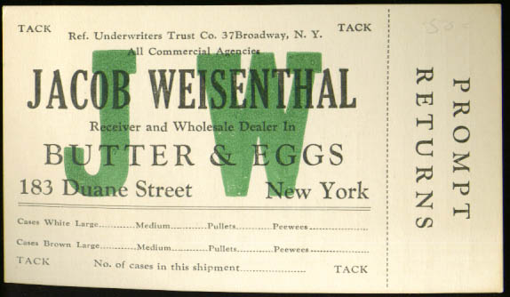 Image for Jacob Wiesenthal Butter & Eggs NY order card