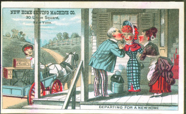 Image for Newlyweds take a wagon to a New Home Sewing Machine tradecard 1880s