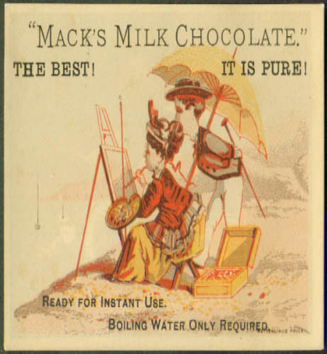 Image for Mack's Milk Chocolate boy watches girl Artist on beach tradecard 1880s parasol