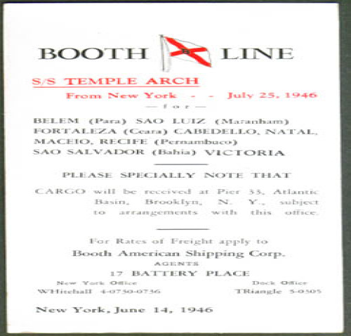 Image for Booth Line S S Temple Arch ad blotter 1946