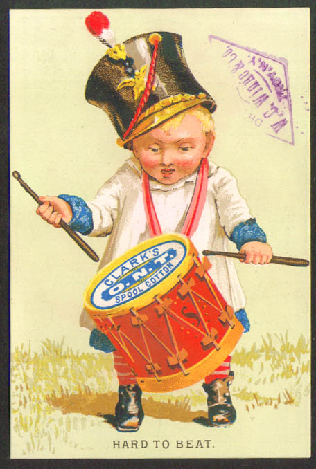 Clark's Spool Cotton baby drummer trade card 1880s
