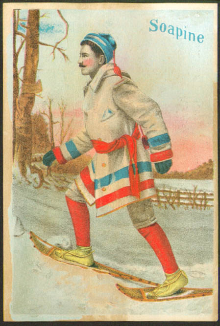 Man on snowshoes Soapine trade card Kendall Providence