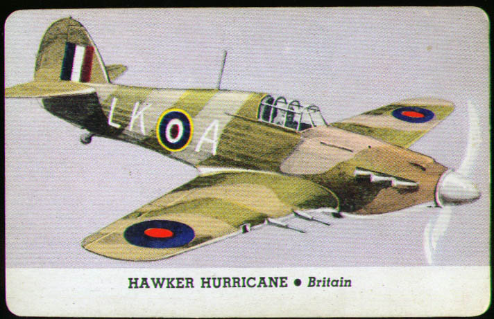 Image for Hawker Hurricane Whitman trading card 1944 Series D