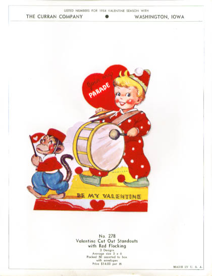 Boy drum monkey Valentine Sample 1954