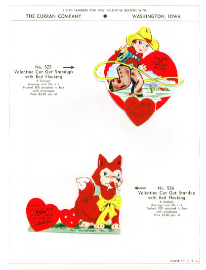 Cowboy + Fox Valentine Sample 1954