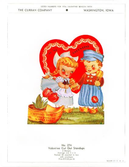 Image for Dutch kids wooden shoe Valentine sample 1954