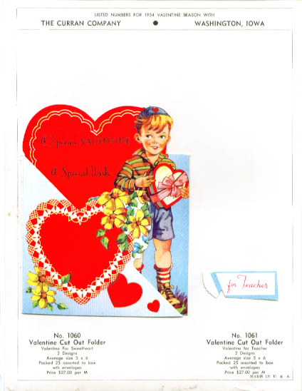 Boy w/ candy box Valentine page 1954