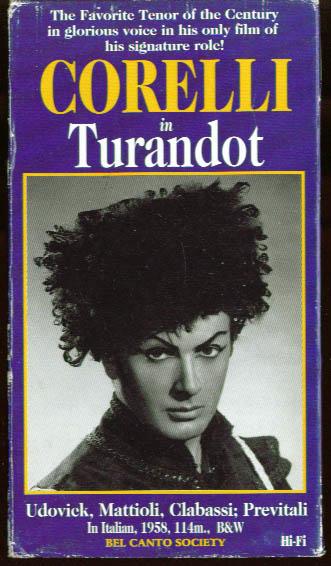 Puccini: Turnadot: Corelli Udovick VHS 1958 1994
