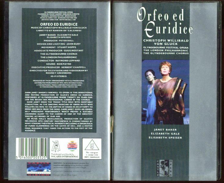 Gluck: Orfeo ed Euridice: Baker Gale Speiser VHS 1982