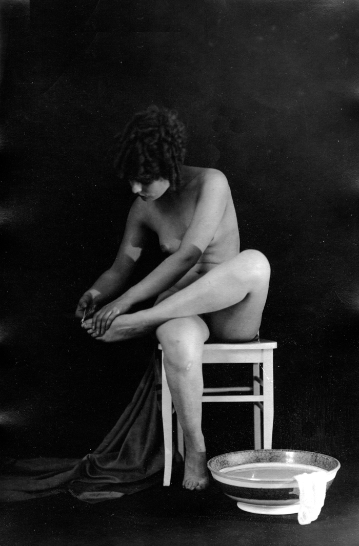 Image for Clipping toenails 1920s nude Albert Arthur Allen photo