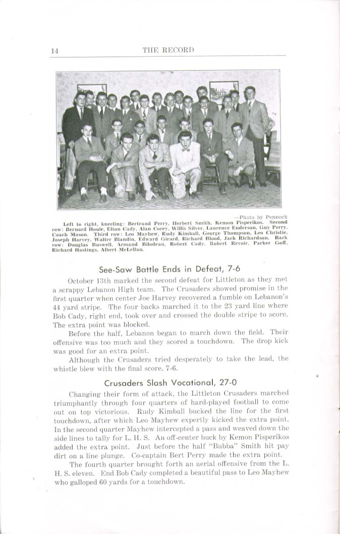 Image for The Record Littleton High School Littleton New Hampshire Fall 1945 Yearbook