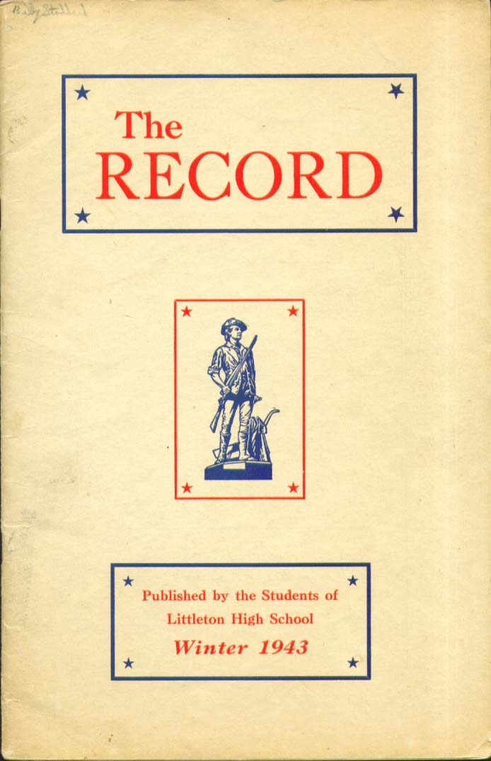 The Record Littleton High School Littleton New Hampshire 1943 Yearbook
