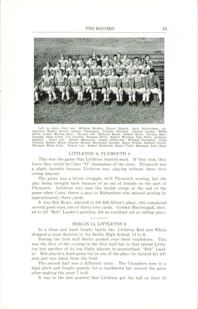The Record Littleton High School Littleton New Hampshire Fall 1947 Yearbook
