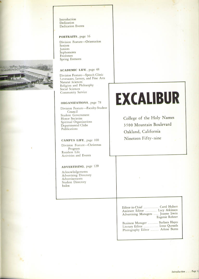 Excalibur College of Holy Names oakland California 1959 Yearbook