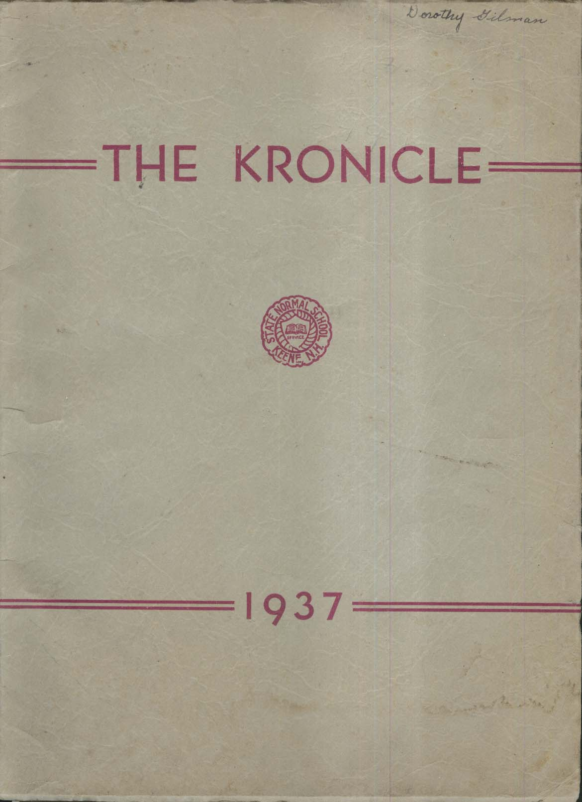 The Kronicle State Normal School Keene New Hampshire NH 1937 Yearbook