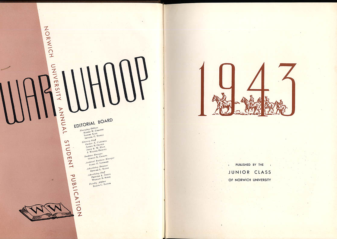 1943 War Whoop Norwich University Military College of Vermont Yearbook