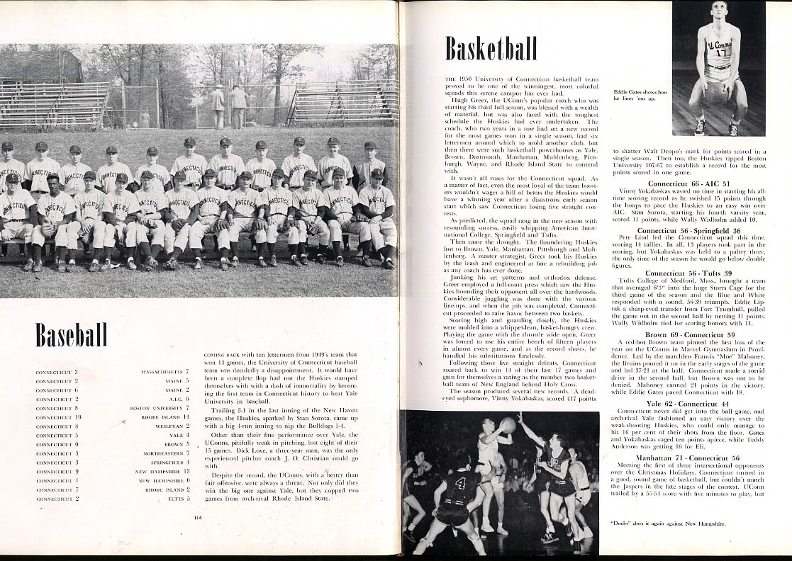 1950 Nutmeg University of Connecticut CT Yearbook Walt Dropo