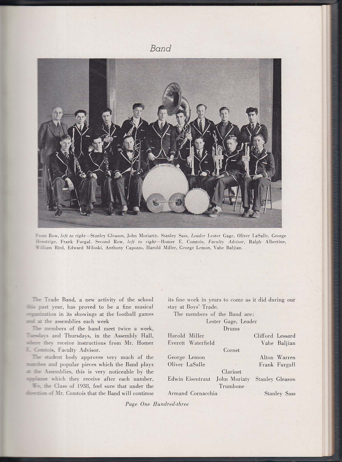 Image for Blue & Gray 1938 Yearbook Boys Trade School Worcester MA
