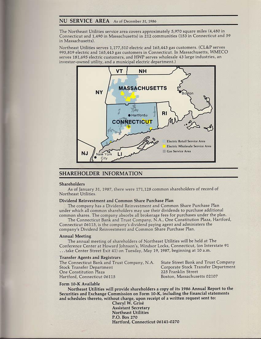 Northeast Utilities Annual Report 1986 | eBay