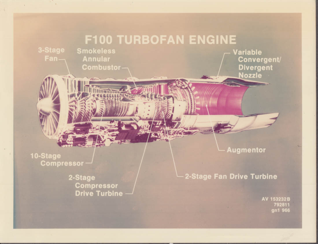 Pratt Whitney Aircraft F100 Turbofan Engine Diagram Color Missile Photograph 1970s
