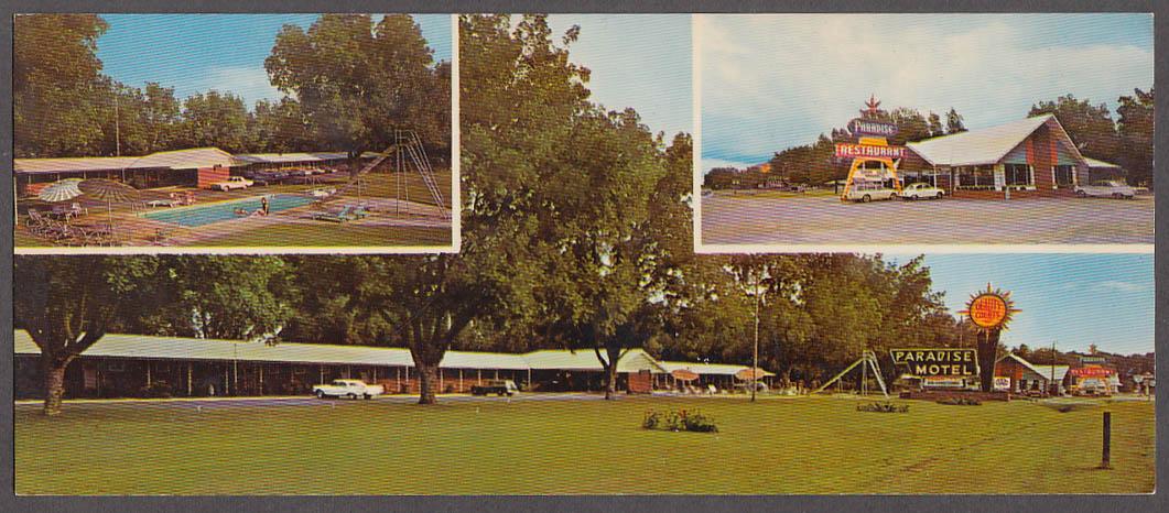 Paradise-Motel-amp-Restaurant-US-301-Sylvania-GA-long-3-view-postcard-1960s