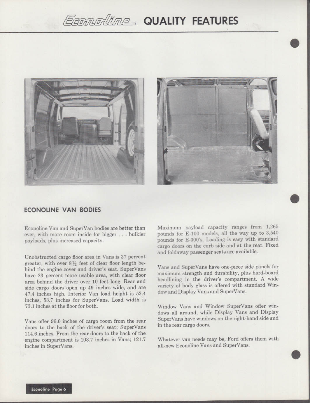 1969 Ford Econoline Van 3 Ring Binder Specifications Pages Insert