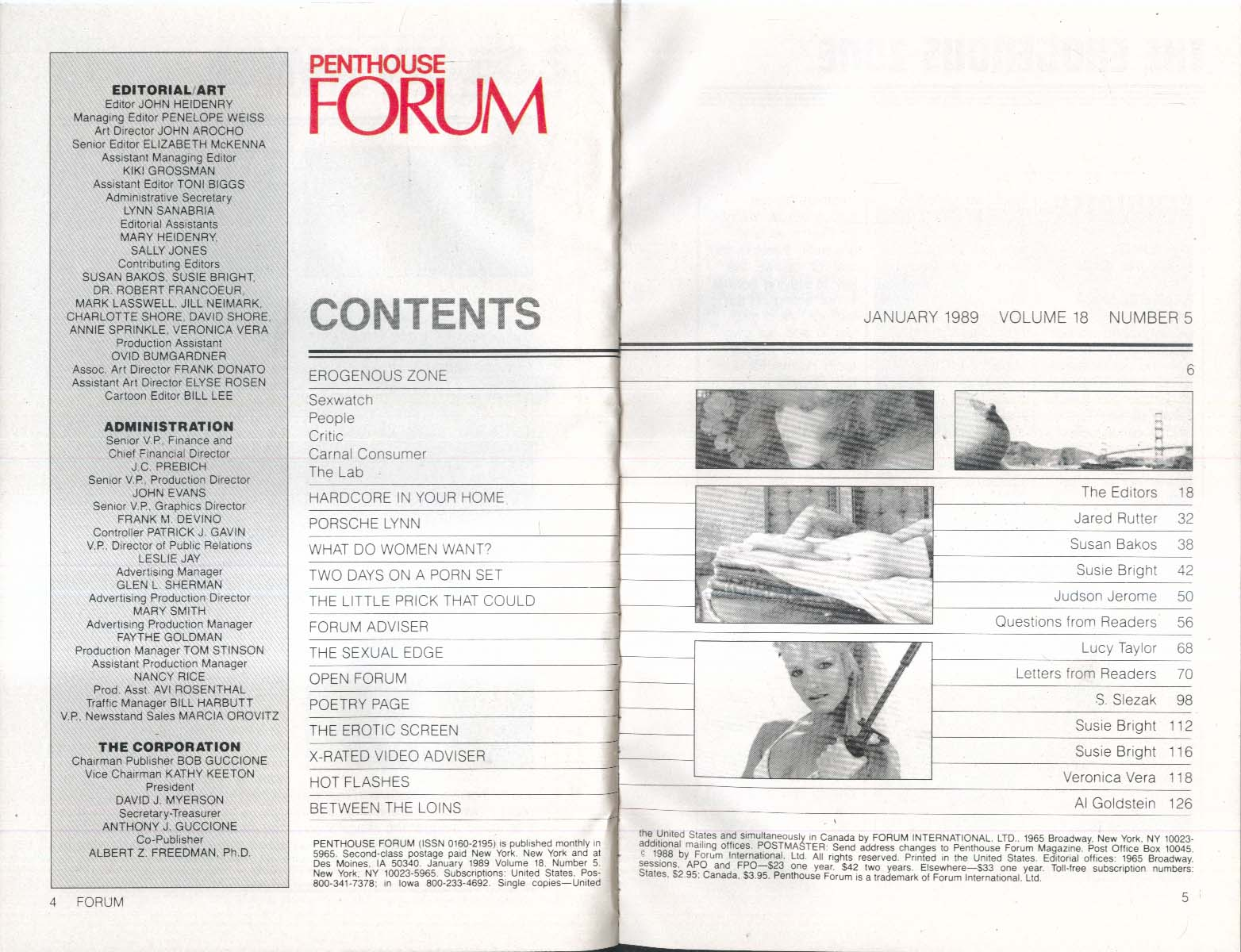 PENTHOUSE FORUM Porsche Lynn reader letters x rated video etc